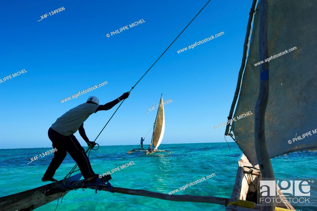 Stock Photo: Tanzania, Zanzibar island, Unguja, fisher Hassan Pita and Heri Buesso at Jambiani.