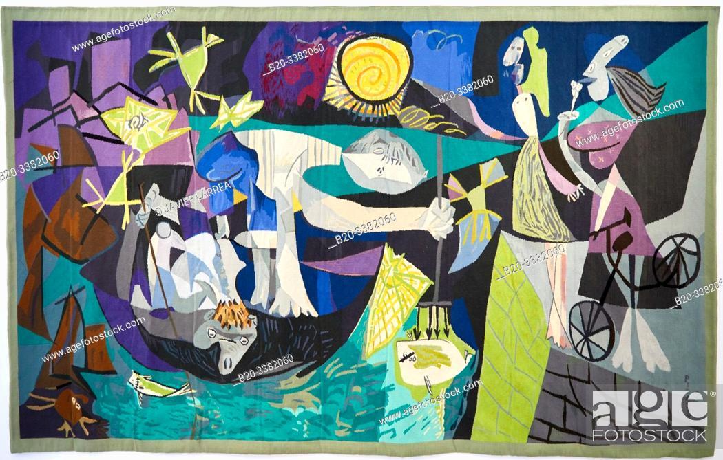 """Stock Photo: """"Pêche de nuit á Antibes d'aptes l'oeuvre éponyme de Pablo Picasso (août 1939)"""", 1987-1988, Jacqueline de La Baume-Dürrbach, Picasso Museum, Paris, France."""