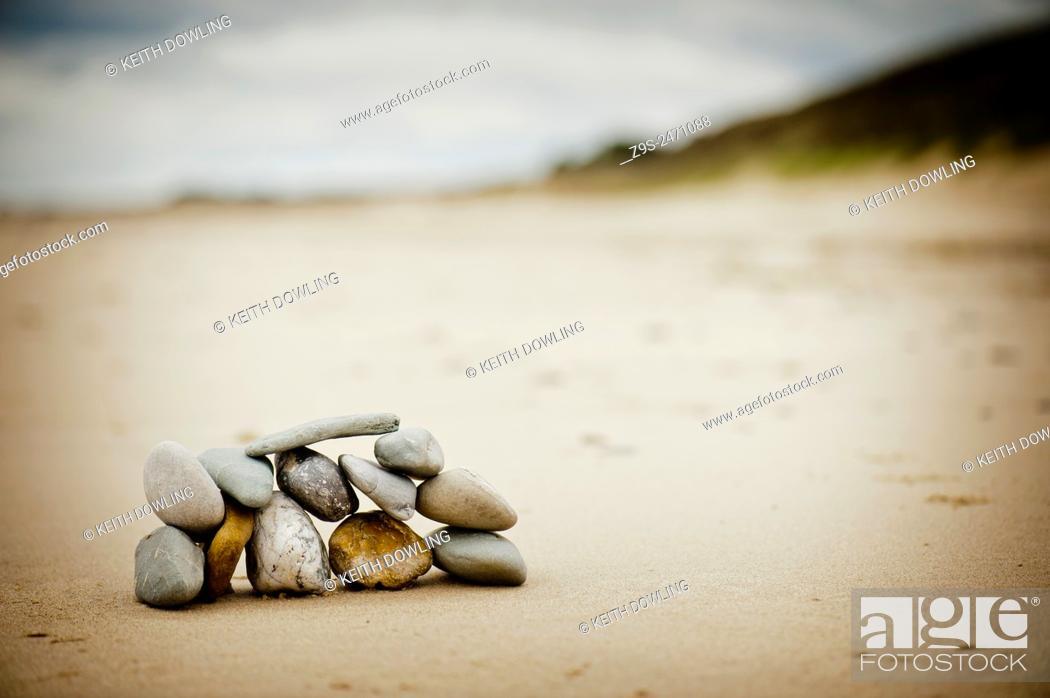 Stock Photo: Twelve stones on a beach. Ireland.
