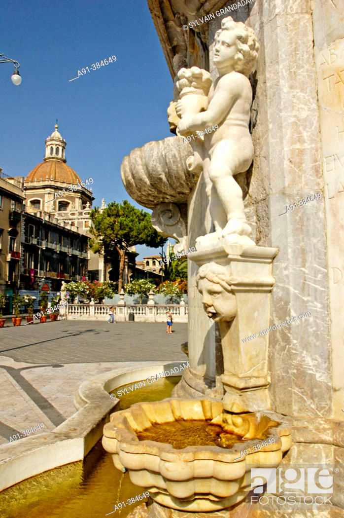 Stock Photo: Fountain on the cathedral square. Catania. Sicily. Italy.