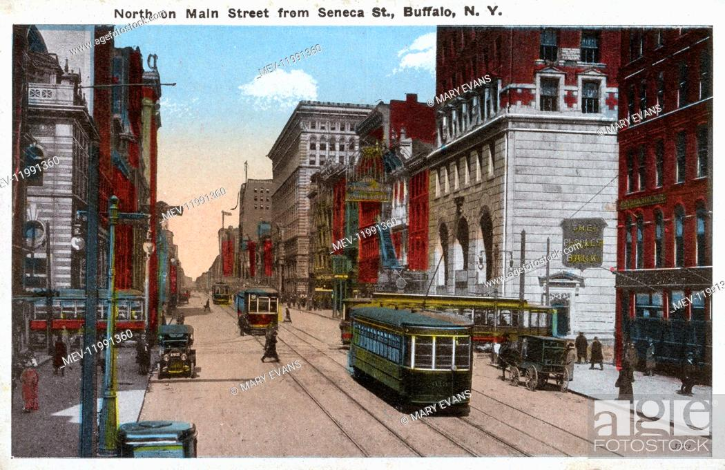 Photo de stock: The view looking north on Main Street from Seneca Street, Buffalo, NY, USA.