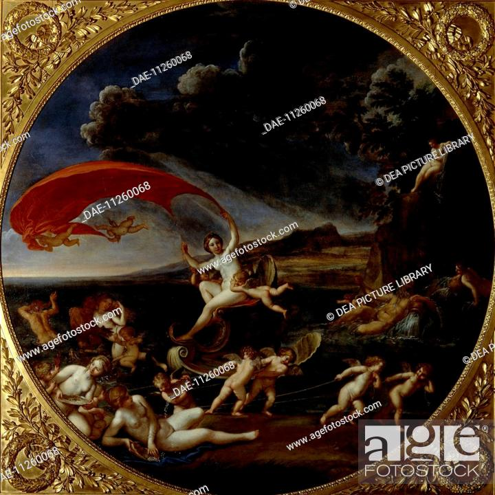 Stock Photo: Allegory of water, from the series The Four Elements, ca 1627, by Francesco Albani (1578-1660), oil on canvas, 180cm diameter.