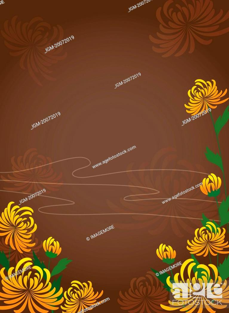 Stock Photo: Illustration and painting of chrysanthemum.