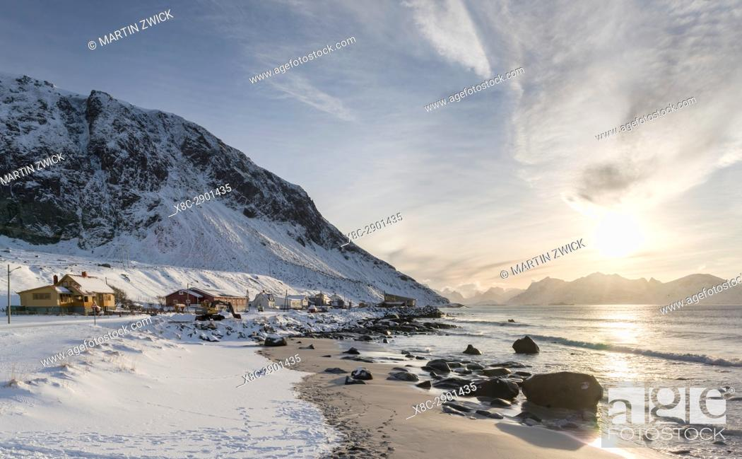 Stock Photo: Village Vikten on the island Flakstadoya. The Lofoten Islands in northern Norway during winter. Europe, Scandinavia, Norway, February.