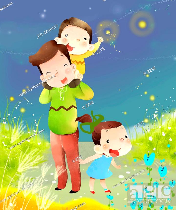 Stock Photo: mother and children at outdoor.