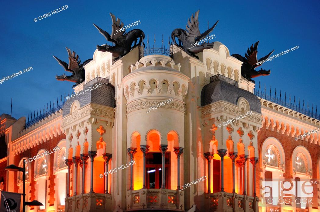 Stock Photo: House of Dragons or Casa de los Dragones on Calle Camoens Ceuta Spain.