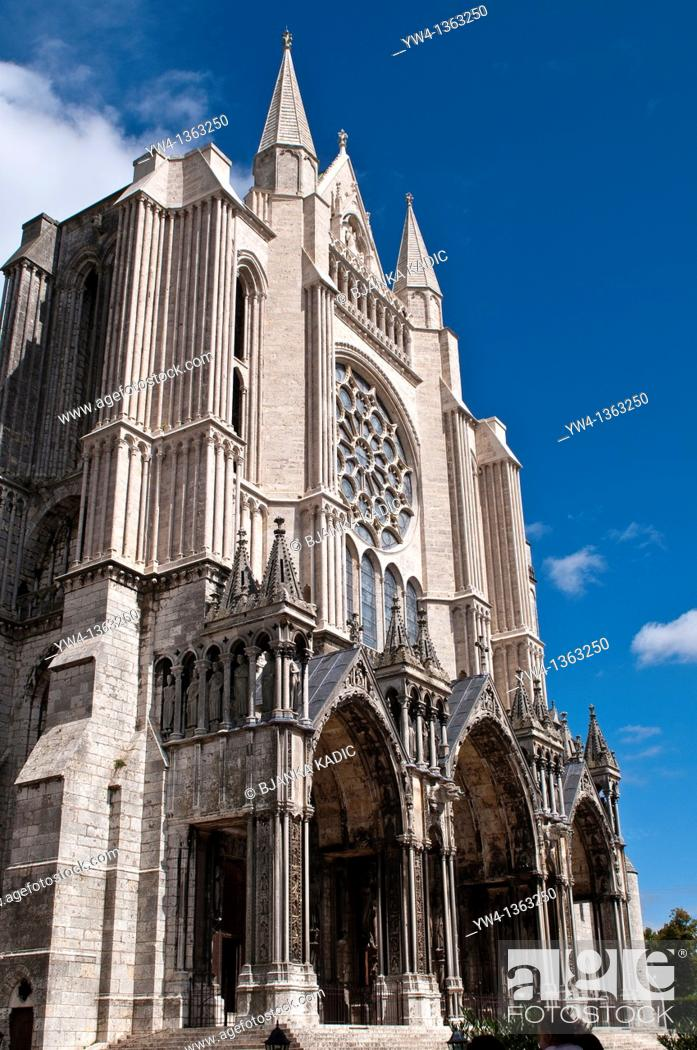 Stock Photo: Chartres Cathedral, South facade, France.