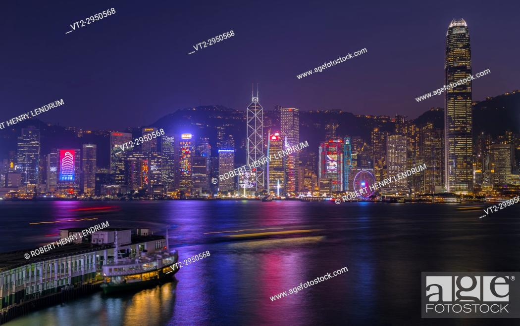Stock Photo: Hong Kong city skyline, Victoria harbor, Hong Kong, China.