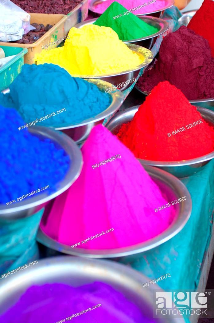 Stock Photo: Colourful rangoli powders sold in the markets in Mysore, Karnataka.