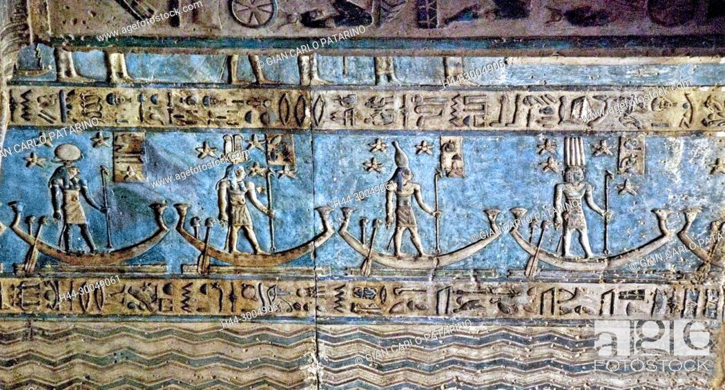 Stock Photo: Egypt, Dendera, Ptolemaic temple of the goddess Hathor.View of ceiling before cleaning.