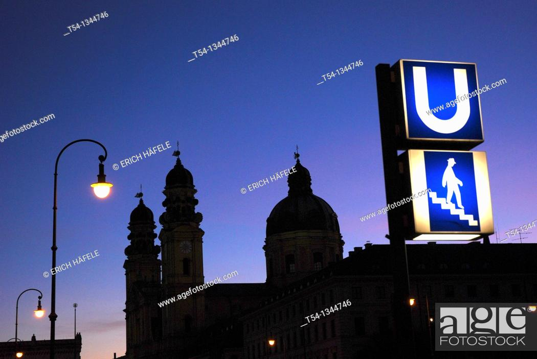 Stock Photo: Metro entrance at the Odeons Platz Munich in the twilight.