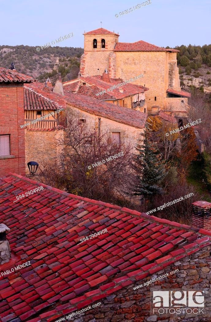 Stock Photo: View of the church of Our Lady of Calatañazor from the castle. Soria province, Spain.