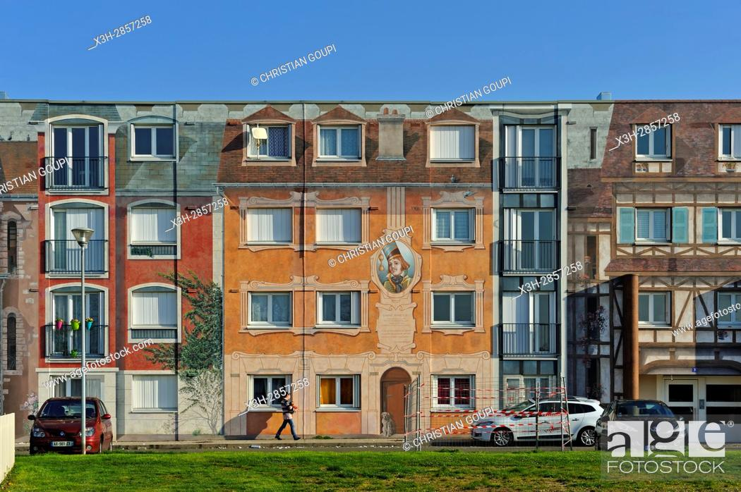 Imagen: Fresques de Bel-Air, 4000 m² of council housing building painted in trompe-l'oeil style ( design and carrying out by CiteCreation), Chartres.