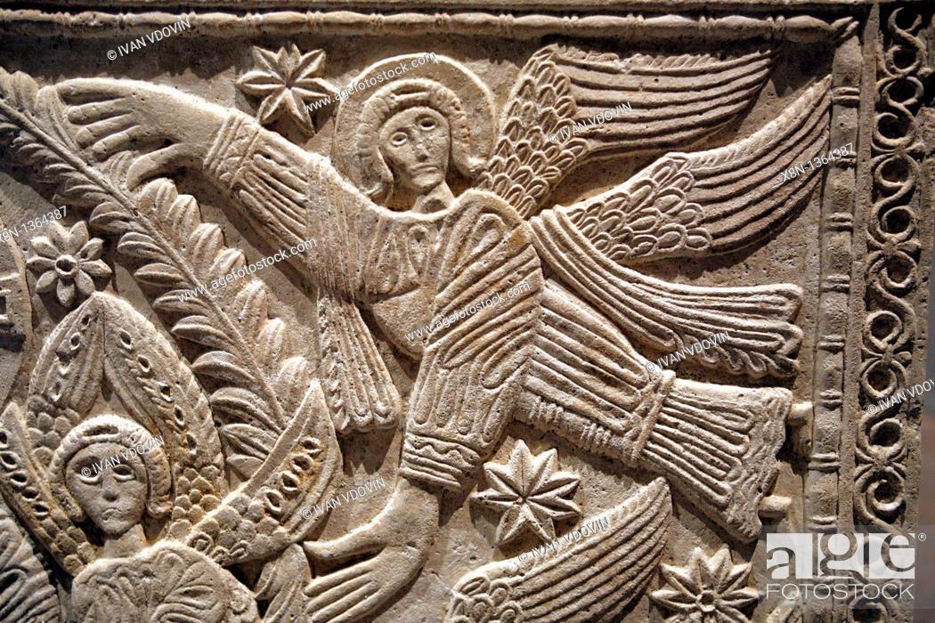 Stock Photo: Cathedral treasury, Longobard marble slab 8th century, Cividale del Friuli, Friuli-Venezia Giulia, Italy.