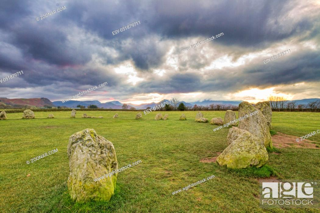 Stock Photo: Castlerigg Stone Circle is situated near Keswick in the Lake District UK.