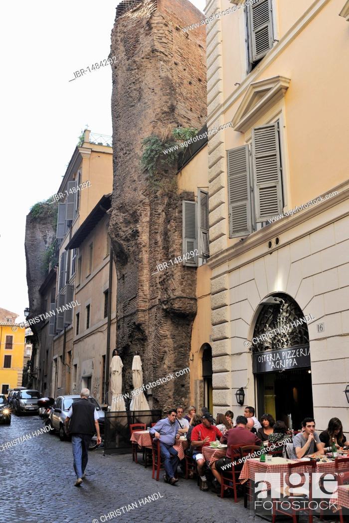 Stock Photo: Roman wall, in Via dei Cestari, Rome, Lazio, Italy, Europe.