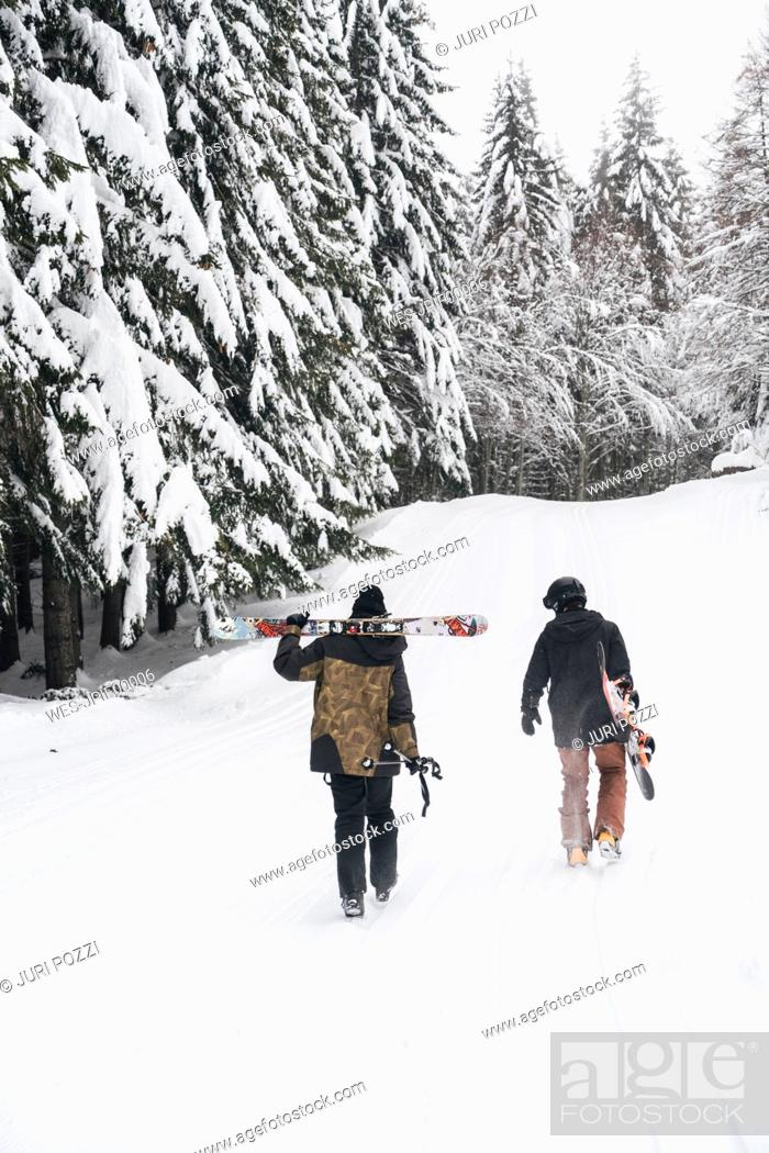 Stock Photo: Italy, Modena, Cimone, rear view of couple with skiers and snowboard walking in winter forest.