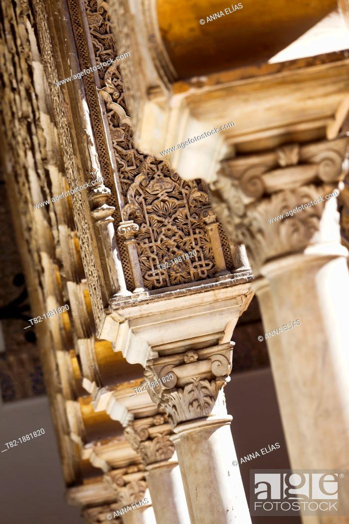 Stock Photo: Islamic capital gothic detail of the gardens of the Alcazar of Seville, Andalucia, Spain, Europe.