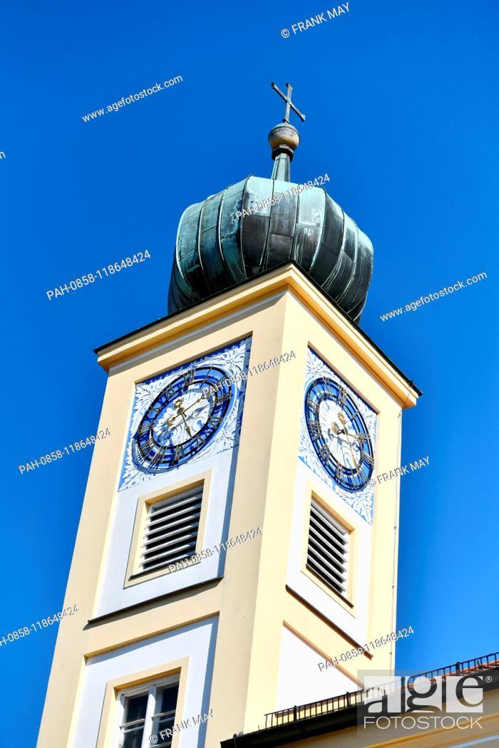 Stock Photo: Church spire, Germany, city of Freising, 20. March 2019. Photo: Frank May | usage worldwide. - Freising/Bayern/Germany.