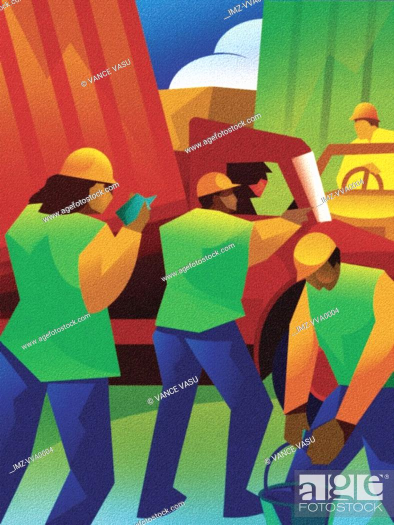 Stock Photo: Illustration of construction workers doing work on a street.