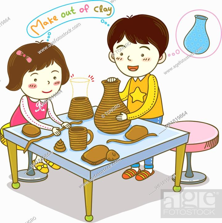 Kids Making Vases Out Of Clay Stock Photo Picture And Royalty Free