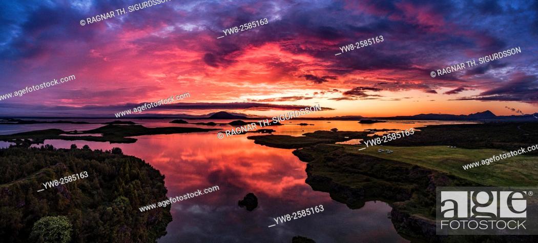 Stock Photo: Sunset over Lake Myvatn, Iceland.