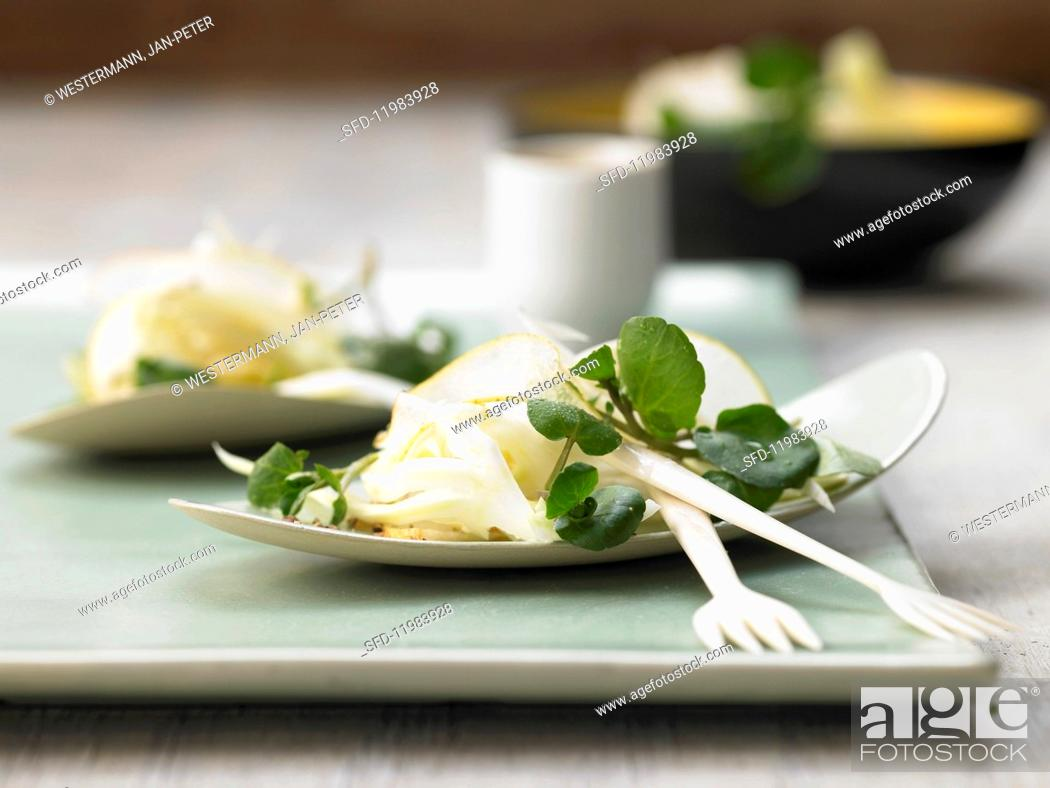 Stock Photo: Pear salad with fennel and watercress.