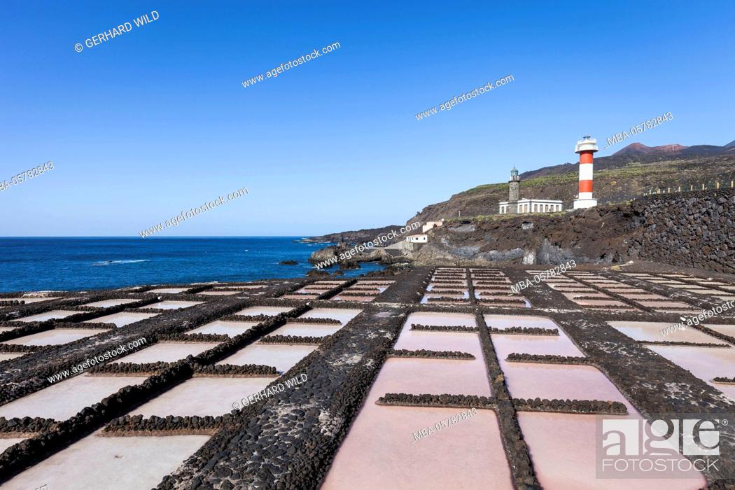 Stock Photo: Salt pools near the saltworks of Fuencaliente, old and new lighthouse, south coast, La Palma, Canary Islands, Spain, Europe.