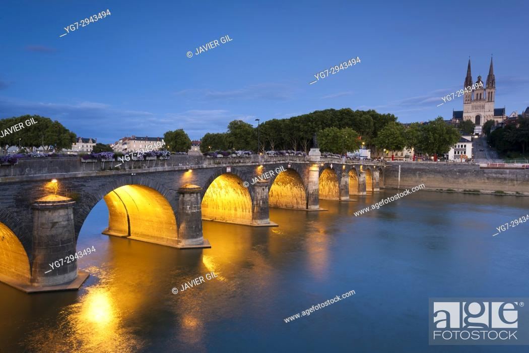 Stock Photo: Verdun bridge and cathedral, Angers, Maine-et-Loire, France.