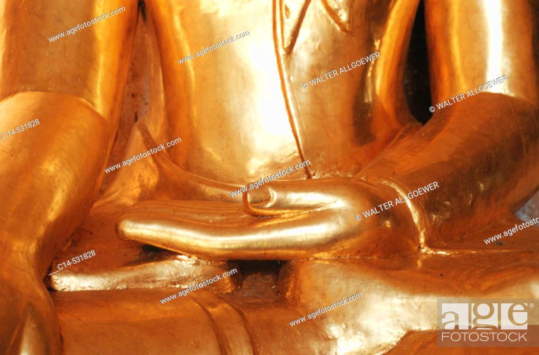 Stock Photo: Golden Buddha statue, Bagan, Burma.