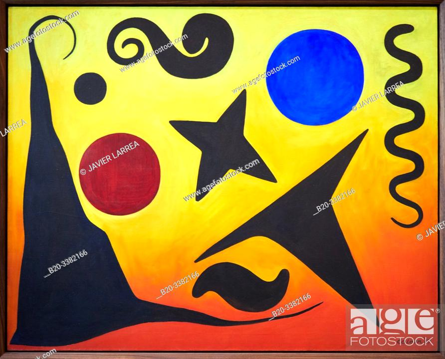 "Stock Photo: ""Seven Black, Red and Blue"", 1947, Alexander Calder, Picasso Museum, Paris, France, Europe."