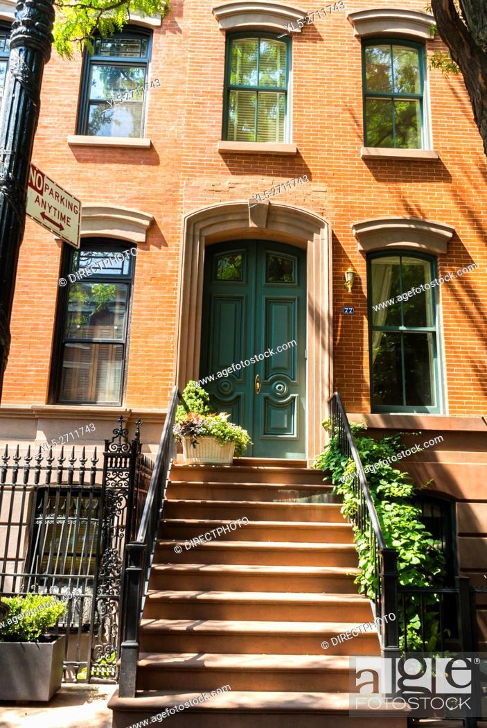 Stock Photo: New York City, NY, USA, Brownstone Apartment Building Facade in Greenwich Village Neighborhood, Manhattan.