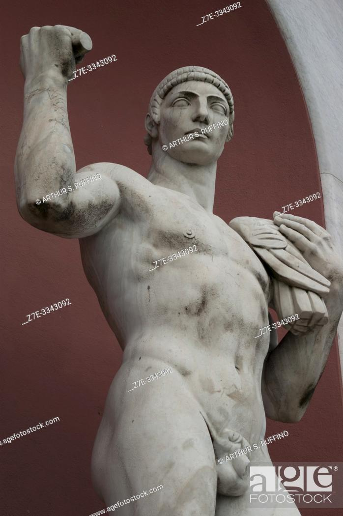 Stock Photo: Detail of a marble statue of an athlete in a niche in the Foro Italico (sports complex). Rome, Italy, Europe.