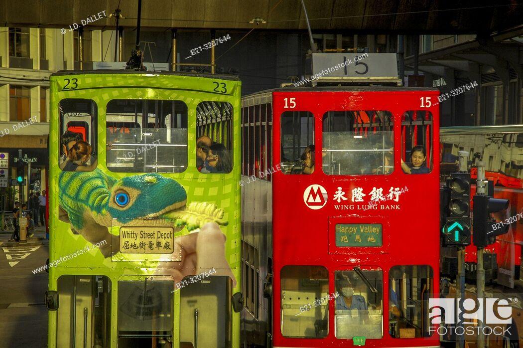 Stock Photo: Double Decker buses at Hong Kong. China.