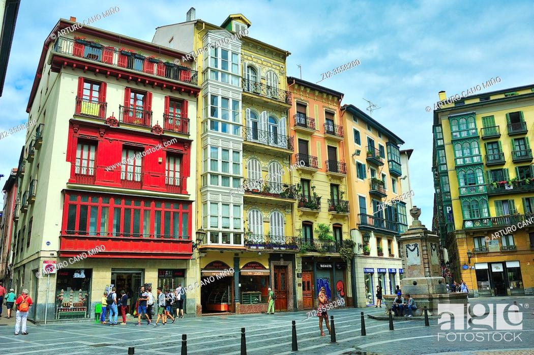 Stock Photo: The neighborhood of Siete Calles (the Seven Streets), the historical Downtown. Bilbao city, Vizcaya province, Spain.