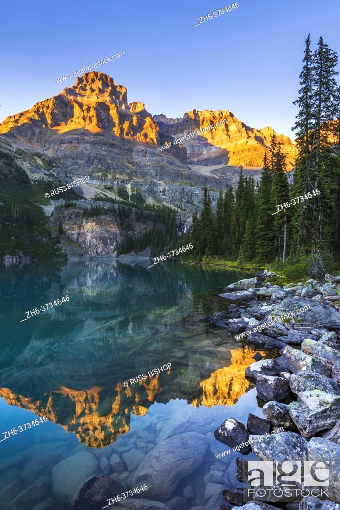 Stock Photo: Evening light on Mount Huber above Lake O'hara, Yoho National Park, British Columbia, Canada.