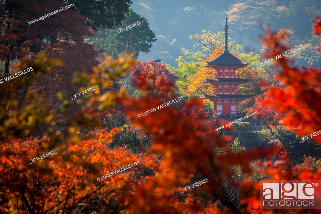 Stock Photo: Pagoda, in Kiyomizu-dera temple, Kyoto. Kansai, Japan.