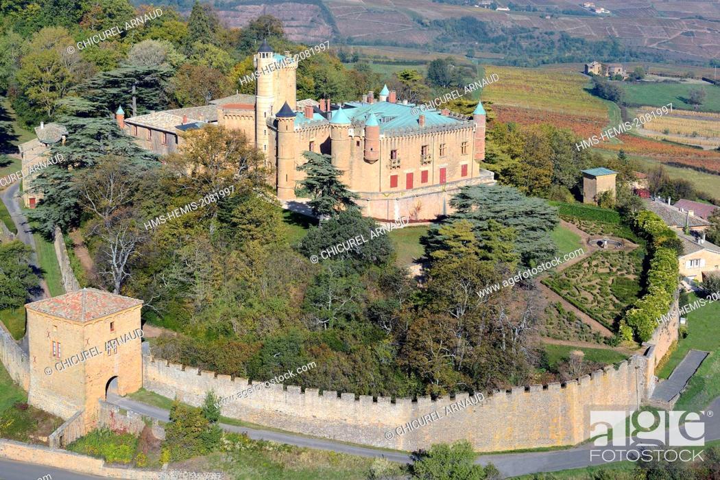 Stock Photo: France, Rhone, Beaujolais region, the wine producing castle of Montmelas Saint Sorlin (aerial view).
