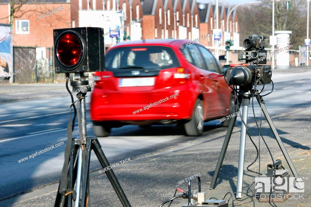 Stock Photo: Radar speed equipment being used by the police, photocall, speed check marathon of the police in North Rhine-Westphalia on 10 February 2012.