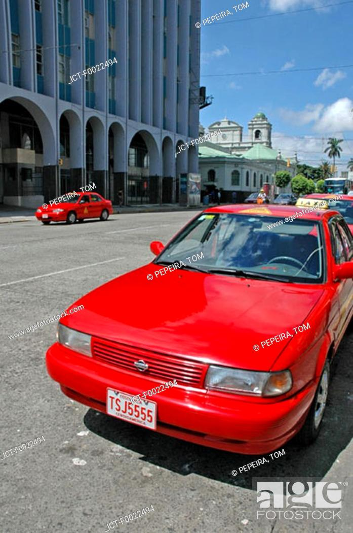 Stock Photo: Costa Rica, San JosÚ, downtown, red cab.