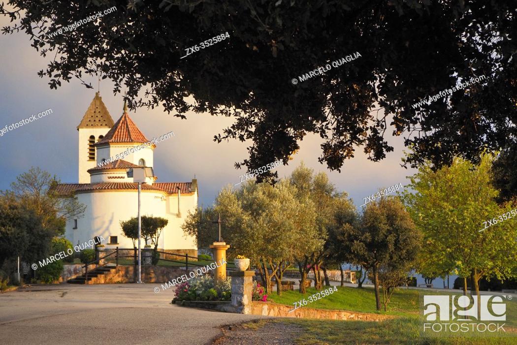 Stock Photo: Lourdes Sanctuary at Prats de lluçanès village surroundings. Lluçanès region, Barcelona province, Catalonia, Spain.