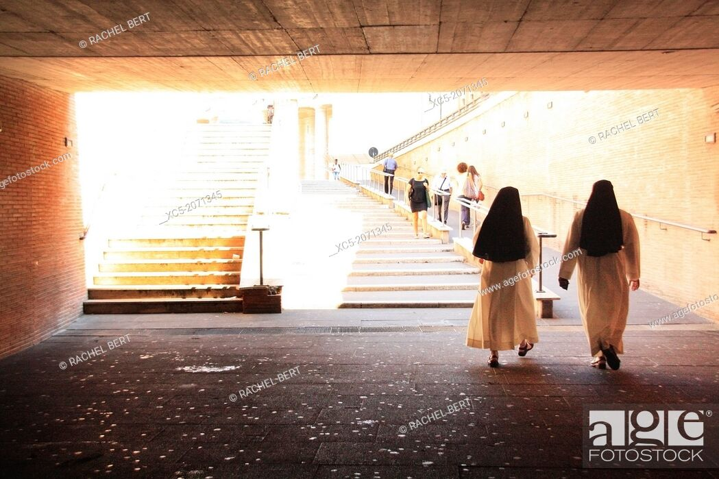 Stock Photo: Nuns in an underpass towards the Vatican.