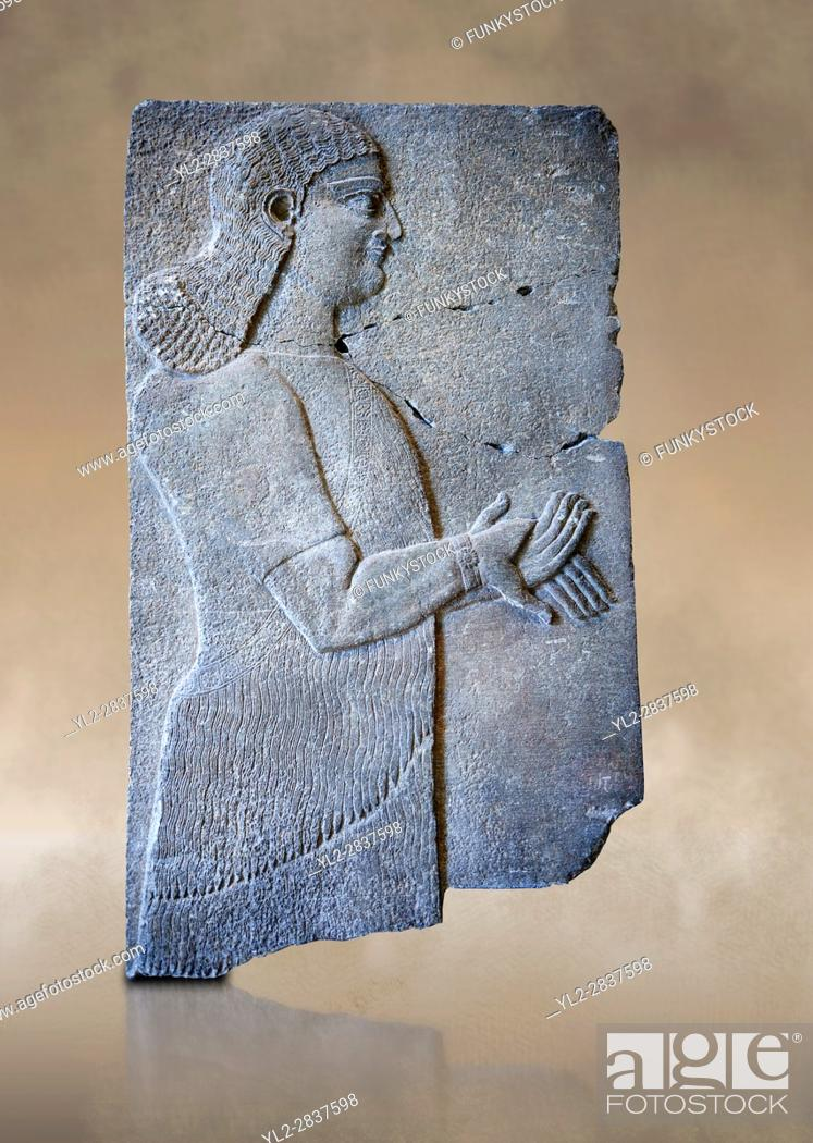 Stock Photo: Stone relief sculptured panel of a Royal servant. From the palace of Teglat-phalasar II, Nimrud, third quarter of the 8th century BC.
