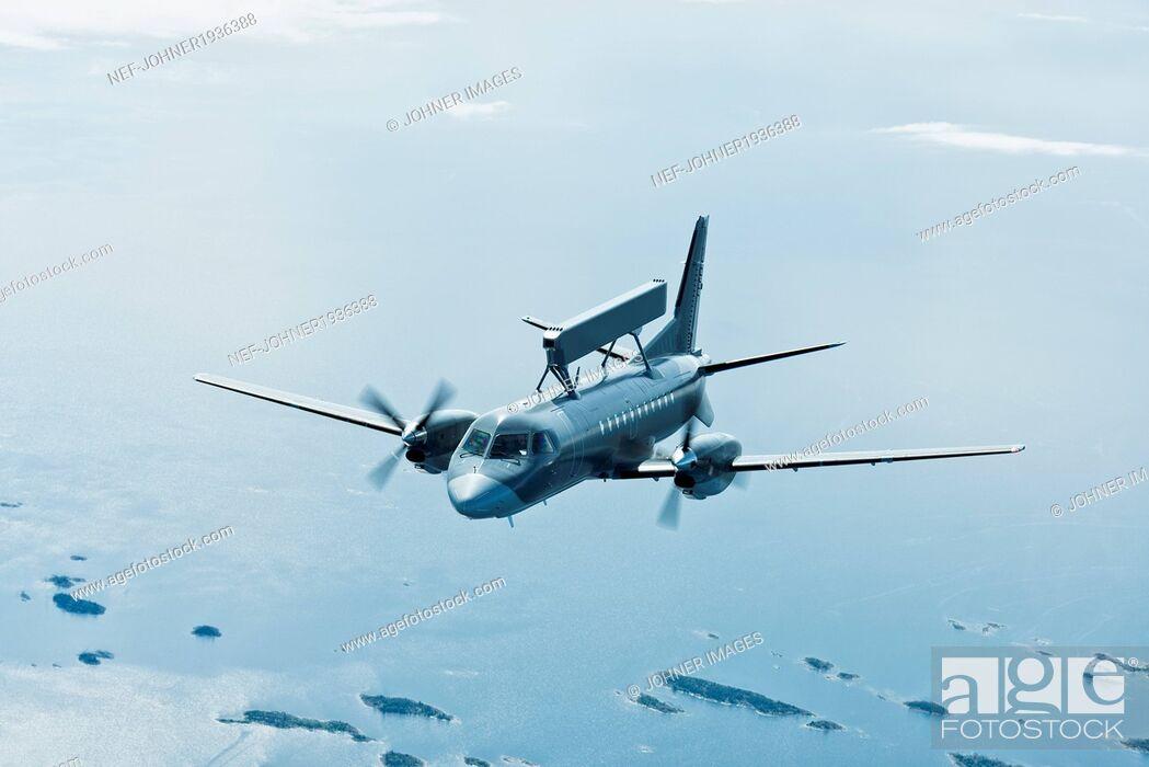 Stock Photo: Aerial view of military plane, a radar plane.