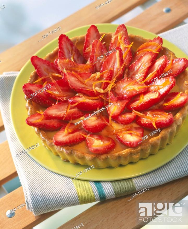 Stock Photo: Strawberry tart.