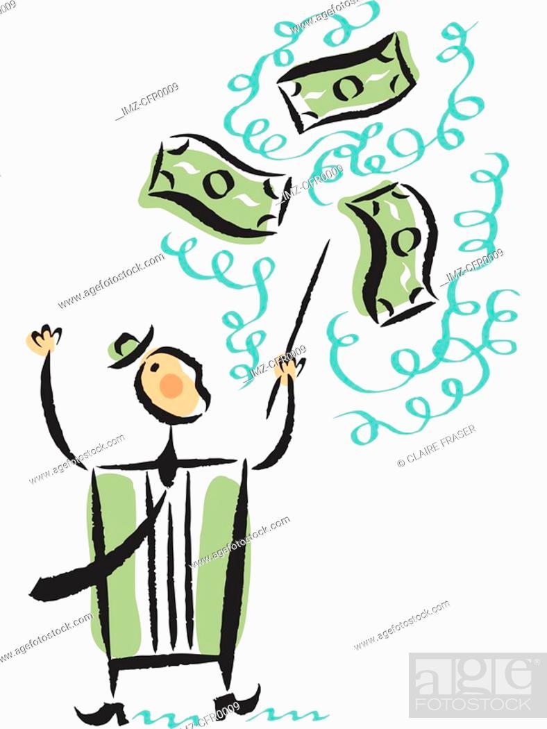 Stock Photo: Illustration of a businessman conducting money.