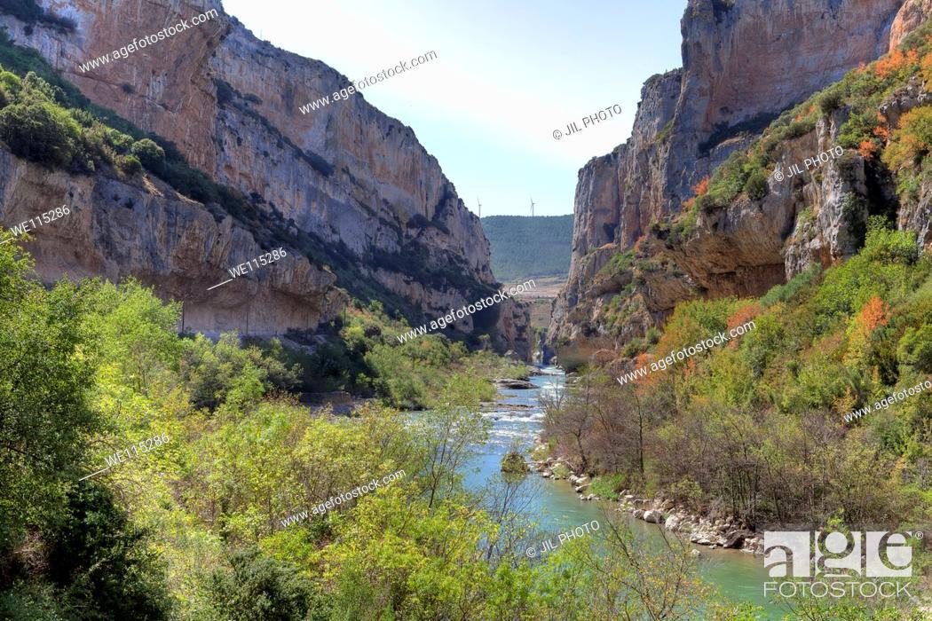 Stock Photo: Lumbier foz. Irati river. Leire range Navarre Spain.