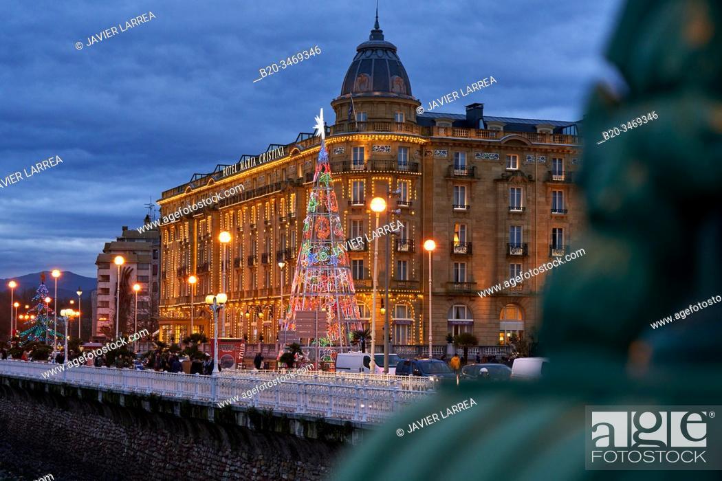Stock Photo: Maria Cristina Hotel, Christmas lights, Donostia, San Sebastian, Gipuzkoa, Basque Country, Spain, Europe.
