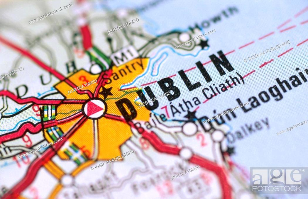Stock Photo: Map in Dublin Ireland.
