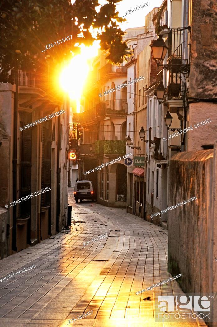 Stock Photo: A street at sunrise, Tossa de Mar, Costa Brava, Catalonia, Spain, Europe.